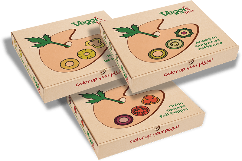 Logo and Packaging for Veggis First (fictional restaurant)